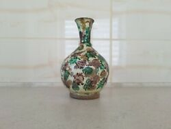 Antique Chinese Ming Dynasty 1368 - 1644 Spinach And Egg Glazed Pottery Vase