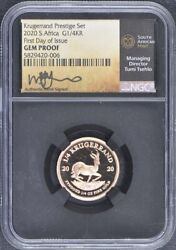 2020 S Africa 1/4 Gold Krugerrand Ngc Gem Proof First Day Issue