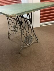 Vintage Singer Sewing Machine Cast Iron Treadle Base Legs Side Table Industrial