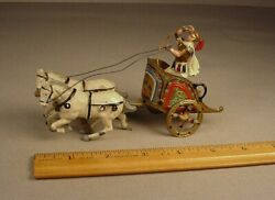 Vintage J Hill Roman Chariot Toy Lead Soldier And Horses England 6 W/ Gladiator
