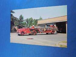 Fire Truck Postcard Endicott New York 1 1958 Seagrave Tractor Drawn Aerial