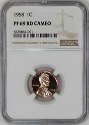 1958 Proof Lincoln Wheat Cent Penny 1c Ngc Certified Pf Pr 69 Rd Cameo 001