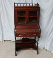 Antique Victorian Secretary Roll Top Desk With Bookcase Andndash 30 Inches Wide