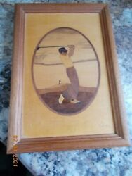 Hudson River Inlay Marquetry Wooden Picture Of A Golfer, Many Woods, Nelson