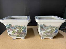 Pair Fine And Old Chinese Porcelain Planter Bowls Large Plater Pots