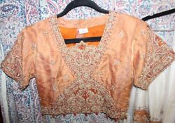 Vintage India Saree Skirt And Beaded Top Gold Bullion 3 Pieces Imagery Creations