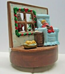 Vintage 1987 House Of Lloyd Ceramic Christmas Music Box Santa Is Coming To Town