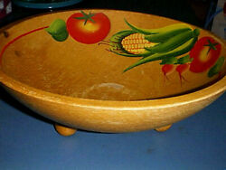 Vintage Primitive Wooden Dough Bowl With Painted Vegetables And 3 Wood Knob Feet