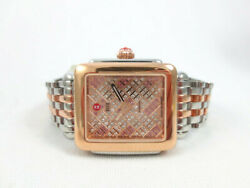 New Michele Deco Mid Rose Gold Silver Limited Edition Topaz Watch Mww06v000081