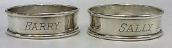 Webster Sterling Silver Signed S/2 Barry And Sally Mono Napkin Rings 12-21-56