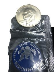 1972 Eisenhower Uncirculated Silver Dollar Blue Pack With Mint Envelope And Coa