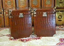 Antique English Leather And Crocodile Occasional Side Table Trunks