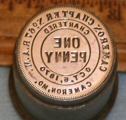 Antique Cameron Mo Chapter No 67 Ram Masonic Penny Stamping Die Mc Lilley
