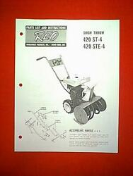 Reo Wheel Horse Models 420 St 4 And 420 Ste 4 Snowthrower / Snowblower Manual