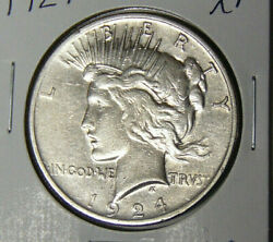 1924 Peace Silver Dollar Circulated Xf Philadelphia Mint Extremely Fine 91820