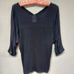 Anthropologie Dolan Left Coast Collection Womens Avan Top Sheer Black Size Small