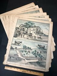 Colored Illustrations Greene County Pa Large Collection Antique Atlas Map Book