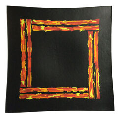 Terri Stanley Cast Fused Glass Curved Plate Matte Black Orange Yellow Inclusions