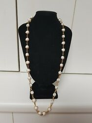 Vintage 60cm 1970's Yellow Gold Tone Milk Glass White 9mm Bead Necklace 26 Grams