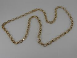 9ct Yellow Gold Faceted Oval Belcher Neck Chain Necklace. 24 Long Hallmarked