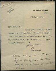 1931 Edward, Earl Of Halifax, Viceroy, Return From India Letter To Gen Ponsonby
