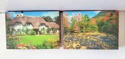 Set Of 2 Vintage Mb Croxley Puzzle Thatched Eave Cottage - White Mountain Nh 500