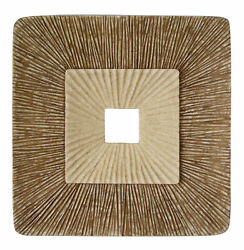 1 X 19 X 19 Brown Concave Square Double Layer Ribbed Wall Plaque
