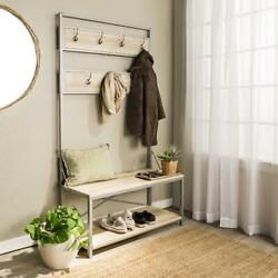 Hallways Entryways Hall Tree With Hooks And Bench Shoe Rack Sitting Space