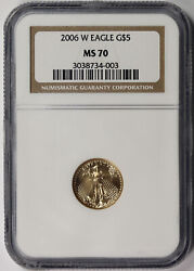 2006-w Burnished American Gold Eagle 5 Tenth-ounce Ms 70 Ngc 1/10 Oz