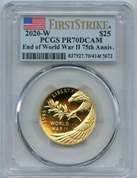 2020-w End Of World War 2 V 75 Gold 1/2 Oz. 25 Pcgs Proof 70 First Strike