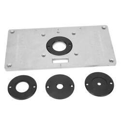Alloy Drilling Mounting Router Table Insert Plate W/ 4 Rings And Screws Durable Us