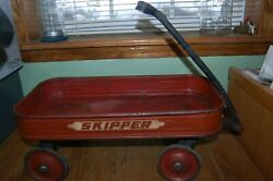 Vintage Child's Small Toy Red Wagon Skipper 21 By 10.5 / Wheels 4.5 Diameter