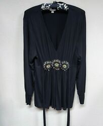 Eci Womens Tunic Long Sleeves Top Beaded Waist Tie Back Blouse Black Size Large