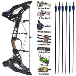 21.5lbs-60lbs Archery Compound Bow Kit Arrows Rh Steel Ball Dual Use Hunting