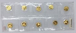2014 China 1/20oz Gold Panda Coin Mint Sealed In Sheet Of 10