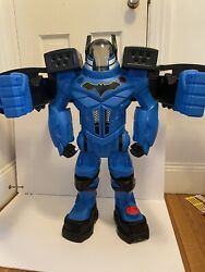 Fisher Price Large Batman Blue Robotic Suit Imaginext 30andrdquo Tall Works Great