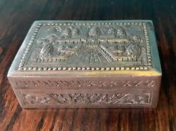 Cambodian 900 Sterling Silver Very Detailed Trinket Box Antique Beautiful Rare