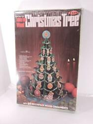 Vintage Arrow Table Top Wood Christmas Tree Make Your Own 49 Ornaments New