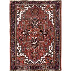 8'3x11'3 Vintage Worn Down Red Farsian Heris Hand Knotted Pure Wool Rug R60496