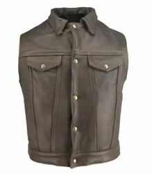 Men's Made In Usa Brown Distressed Leather Denim Style Motorcycle Vest Gun Pocke