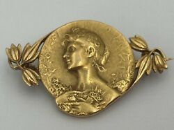 French Art Nouveau 18k Gold Brooch Of A Woman By Victor De Vernon C.1900