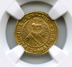 Costa Rica 1847 Cr-jb Gold 1/2 Escudo Central America Ngc Au Counter Stamped