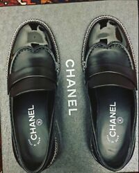 Nib Sold Out Unique Black Flat Leather Loafers Size 37