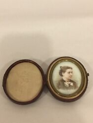 Antique Hand Painted Porcelain Portrait Of Beautiful Woman In Oval Leather Case