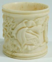 Wwi Trench Art Bold Floral Relief Bone Napkin Ring