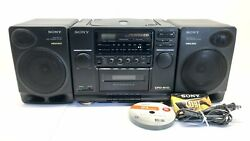 Vintage 90's Sony Cfd-510 Cd Radio Cassette Mega Bass Speaker Boombox And Extras