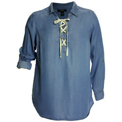 Style And Co Blue Convertible Sleeve Lace Up Top Plus Size New Free Shipping Plus