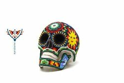 Marakame | Huichol Art Small Skull Xuriya Ii | Micro Crystal Beads On Resin
