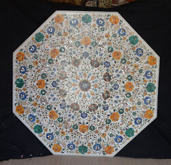 Marble 42 Dining Table Top Marquetry Mosaic Inlaid Floral Arts Home Furniture