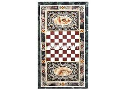Marble Chess Top Dining Table Inlaid Marquetry Natural Design Hallway Arts Gifts